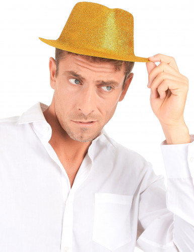 Cappello borsalino con brillantini dorati per adulto-2