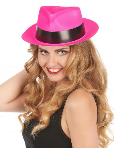 Cappello borsalino rosa fluorescente-1
