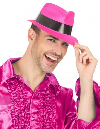 Cappello borsalino rosa fluorescente-2