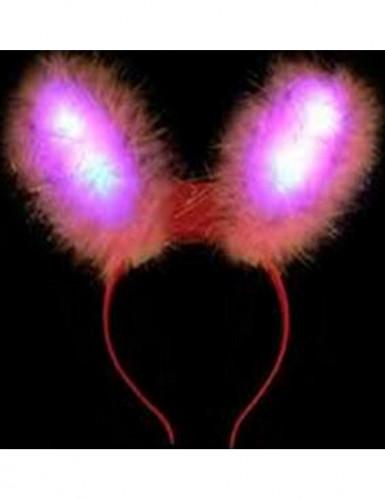 Orecchie da coniglio rosa con led luminosi