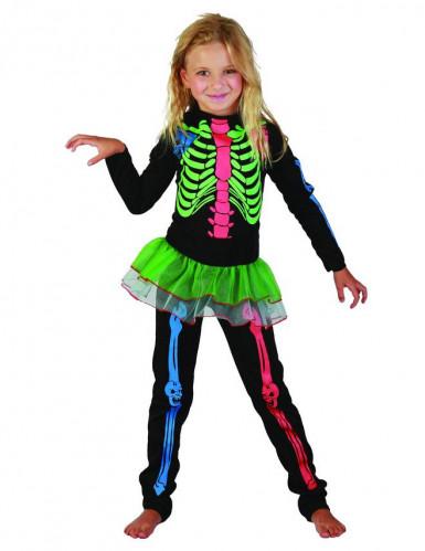 Costume scheletro colorato per bambina