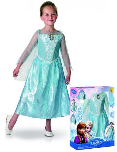 Costume deluxe sonoro e luminoso Elsa Frozen™ bambina con cofanetto