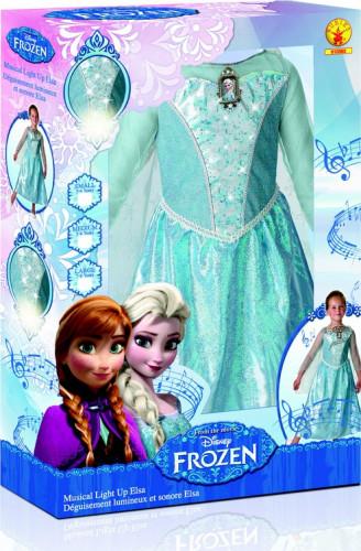 Costume deluxe sonoro e luminoso Elsa Frozen™ bambina con cofanetto-1