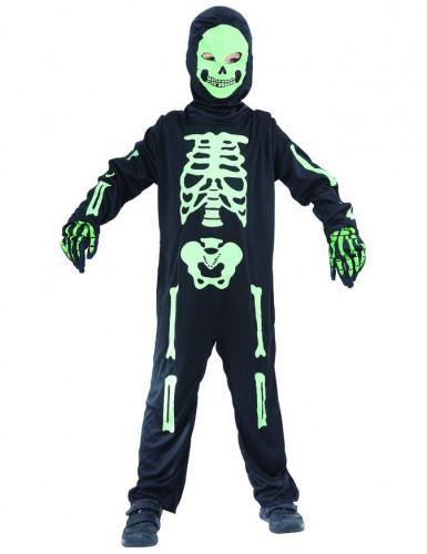Costume scheletro verde bambino