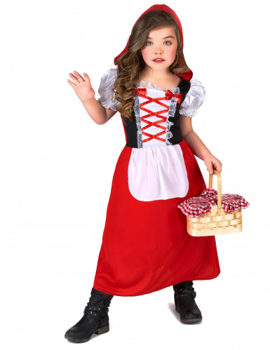 Costume da cappuccetto rosso con laccetti per bambina