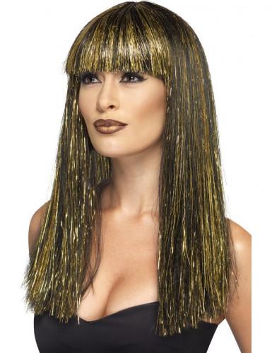 Parrucca lunga egiziana nera e dorata