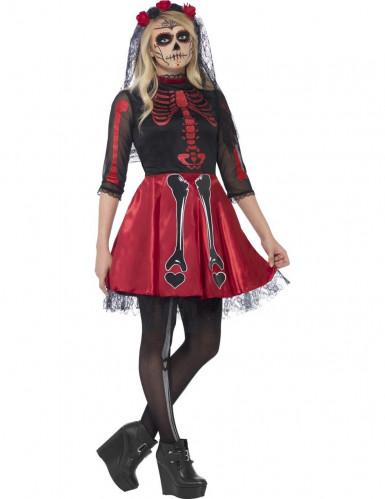 Costume scheletro rosso con paillettes adolescente Halloween