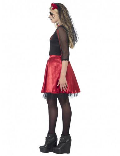 Costume scheletro rosso con paillettes adolescente Halloween-1
