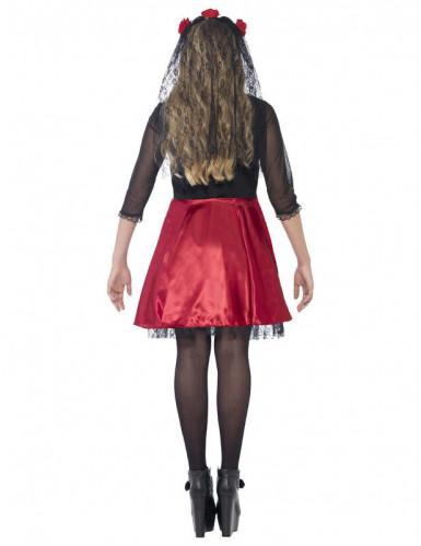 Costume scheletro rosso con paillettes adolescente Halloween-2