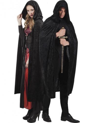 Mantello nero effetto velluto adulto Halloween