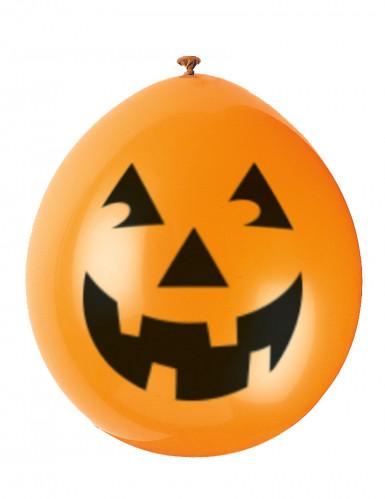 10 palloncini zucca sorridente Halloween