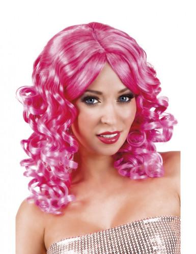Parrucca boccoli rosa donna