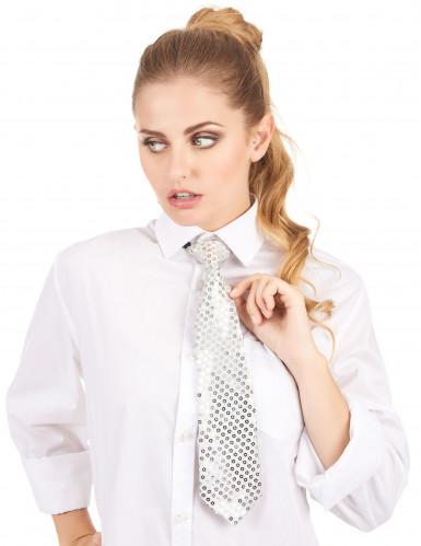 Cravatta argentata con paillettes uomo-1