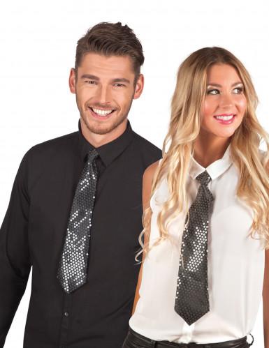 Cravatta nera con sequins trasparenti adulto