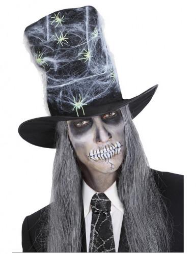 Cappello a cilindro con ragnatele e ragni Halloween