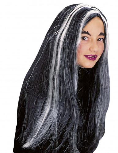 Parrucca da strega nera e bianca fosforescente da bambina per Halloween-1