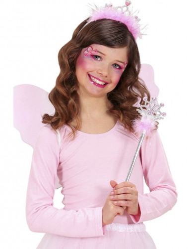 Bacchetta e corona da principessa rosa