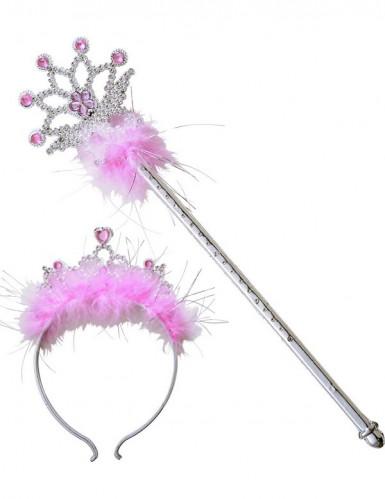 Bacchetta e corona da principessa rosa-2