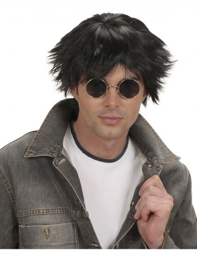 Parrucca corta nera uomo