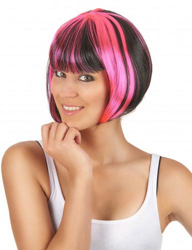 Parrucca caschetto corto con meches nere e rosa per donna