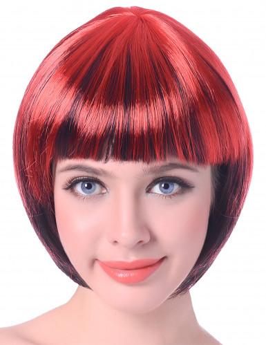Parrucca corta rossa e nera donna