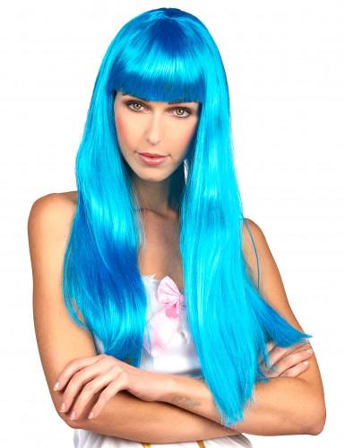 Parrucca blu lunga con frangetta per donna