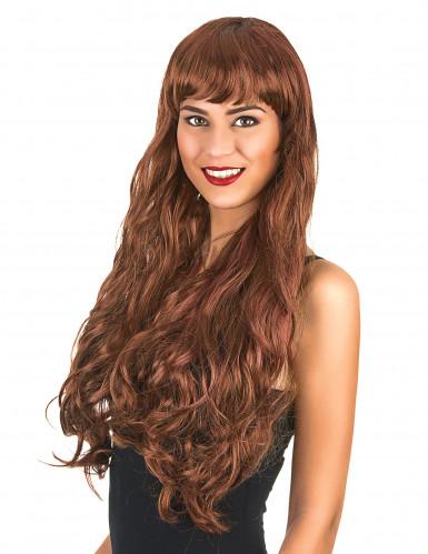 Parrucca lunga ondulata castana per donna