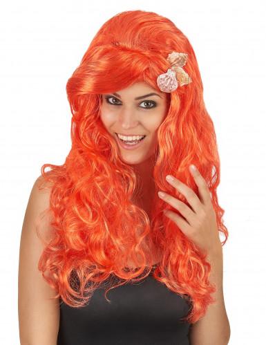 Parrucca da sirena lunga e arancione per donna