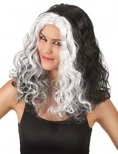 Parrucca bianca e nera ondulata donna