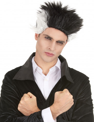 Parrucca da vampiro bianca e nera per adulto