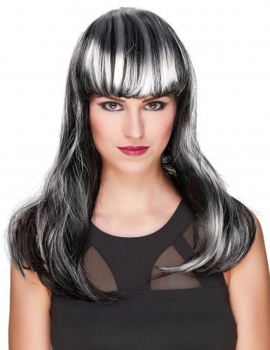 Parrucca con frangetta nera e bianca adulto