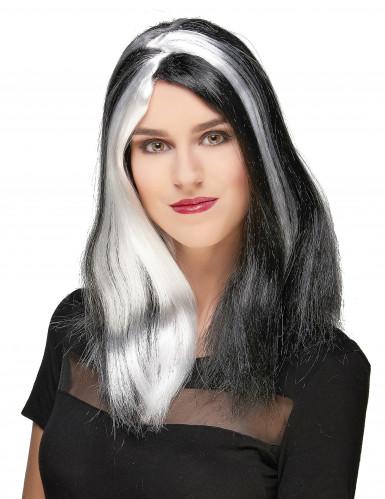 Parrucca da donna di Halloween bianca e nera