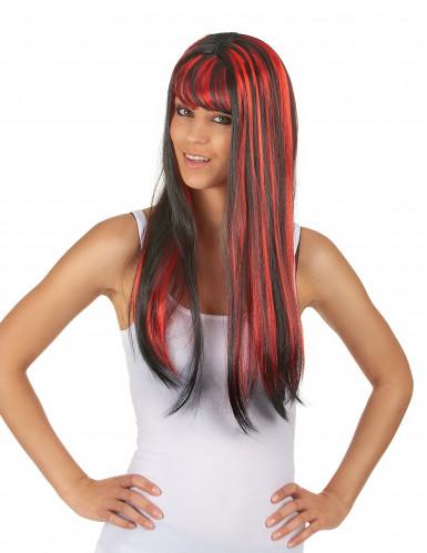 Parrucca lunga nera con frangetta e meches rosse per donna