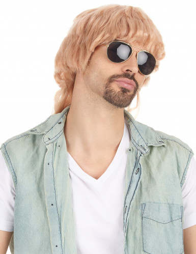 Parrucca taglio mullet bionda e liscia per uomo