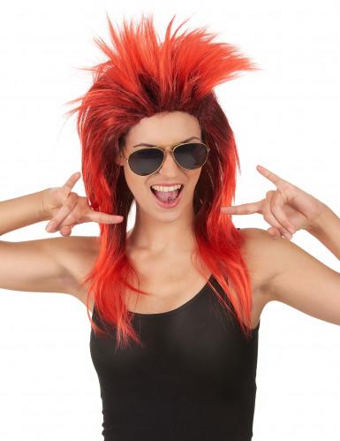 Parrucca da rockstar rossa e nera per adulto