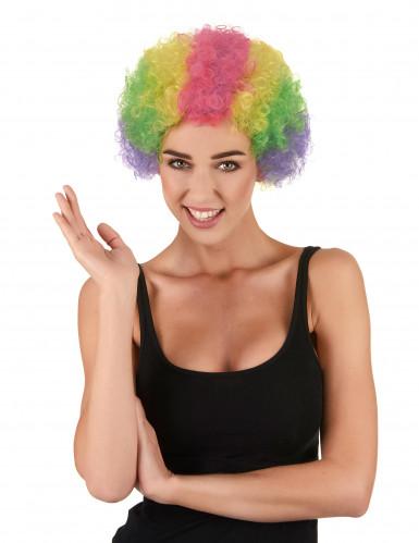 Parrucca afro multicolore clown adulto