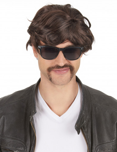 Parrucca bruna corta per uomo
