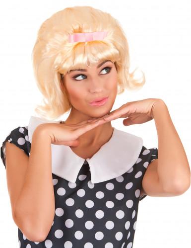 Parrucca bionda cotonata anni '50 per donna