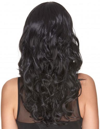 Parrucca deluxe nera, lungha e ondulata per adulto-2
