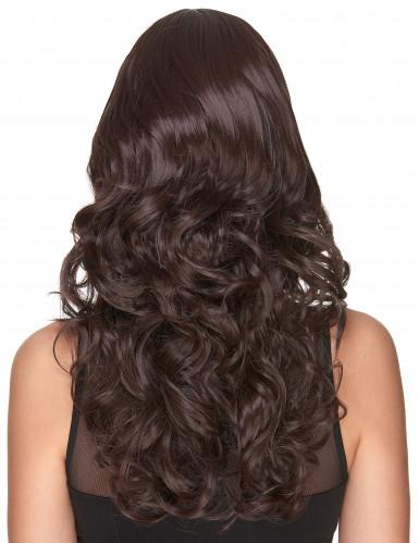 Parrucca deluxe castana, lunga e ondulata per donna-1