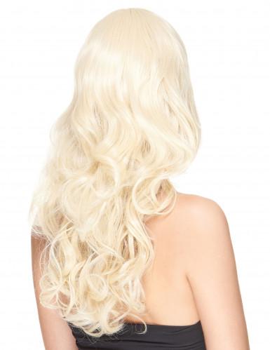 Parrucca deluxe bionda, lunga e ondulata per donna-1