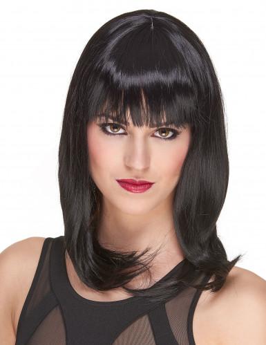 Parrucca nera liscia deluxe media lunghezza per donna