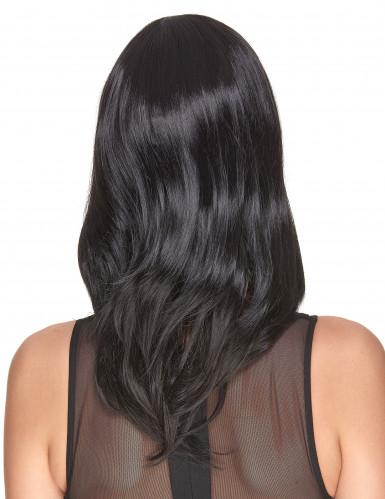 Parrucca nera liscia deluxe media lunghezza per donna-1