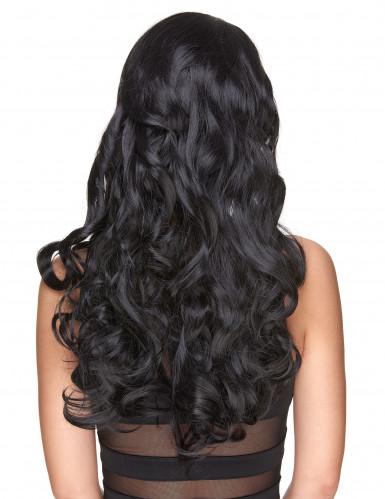 Parrucca deluxe lunga e ondulata nera-2