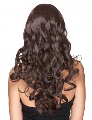 Parrucca deluxe castana lunga e ondulata per donna-1