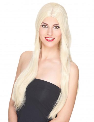 Parrucca deluxe lunga bionda da donna