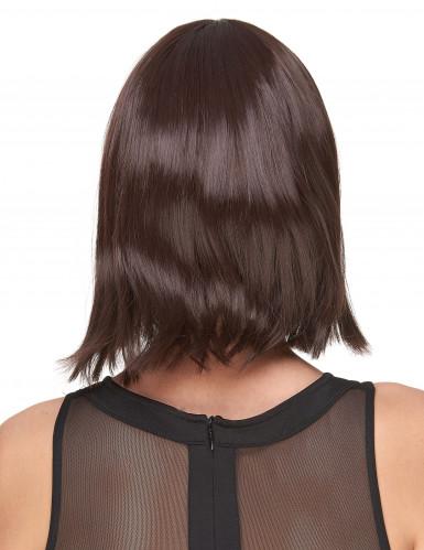 Parrucca capelli corti castano scuro con frangetta-1