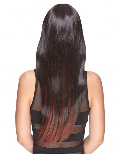 Parrucca donna deluxe lunga castana con frangia-1