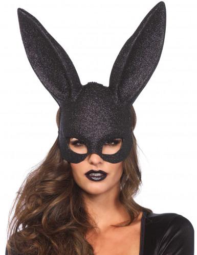 Maschera da coniglio nero con paillettes