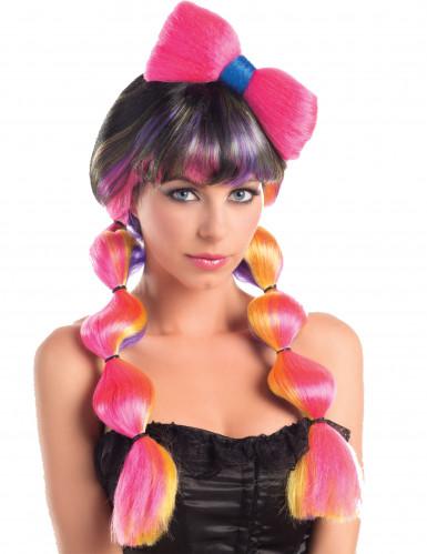 Parrucca Multicolore colorata con nodo - 258g